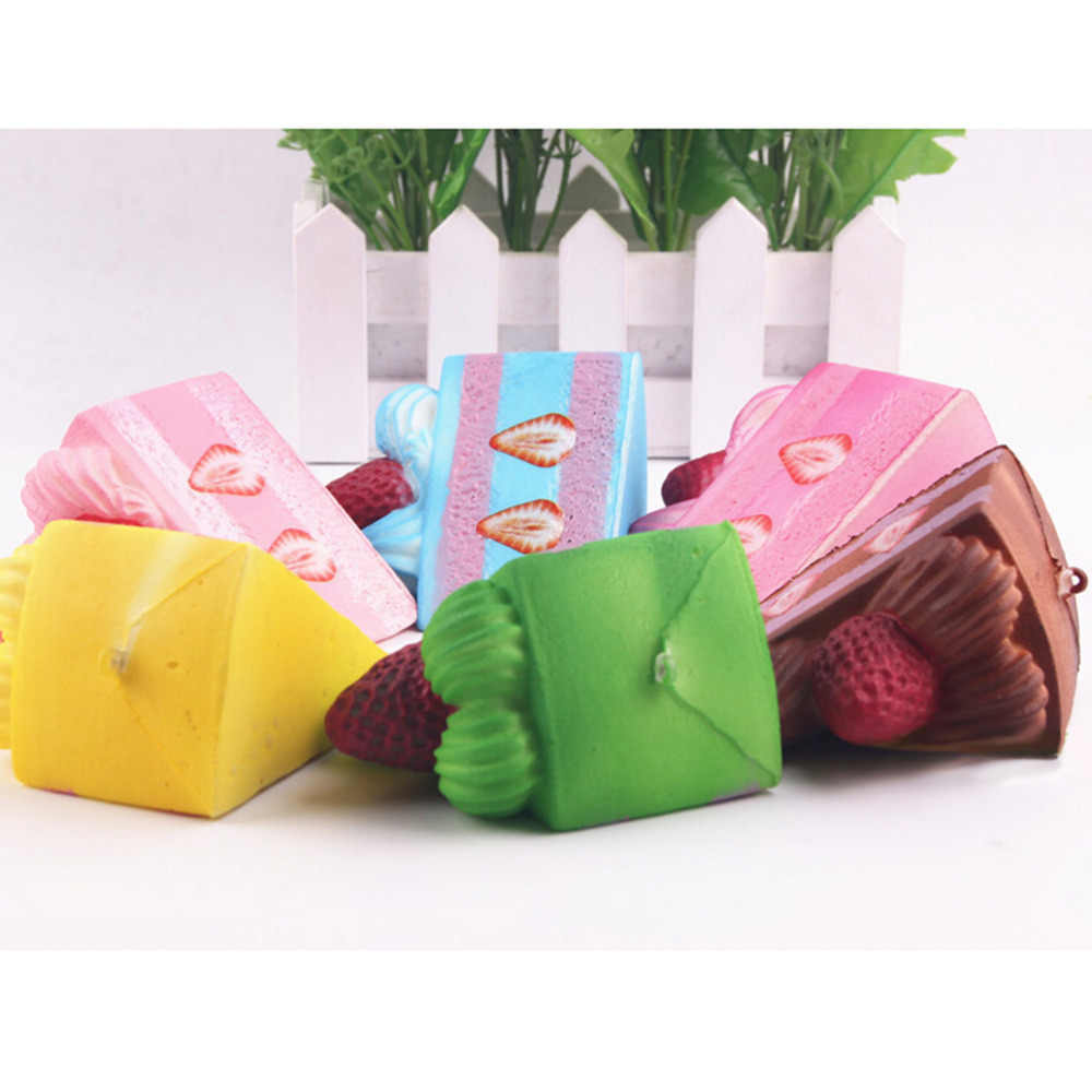 JETTING Slow Rising Strawberry Cake Jumbo Kawaii Stretchy Fun Gift Sweet Cream Scented Kids Toy Lanyard Mobile Phone Strap