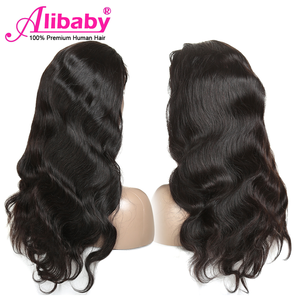 Alibaby Brazilian Body Wave Lace Front Wig Natural Color Glueless Lace Front Human Hair Wigs Pre Plucked 150% Density Remy