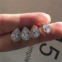 Luxury Female Crystal White Zircon Stud Earrings Boho Rose Gold Color Double Earrings Vintage Wedding Earrings For Women