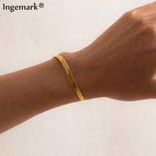 Bracelet ajustable de haute qualité pour femmes et filles, couleur or, serpent bohème, lien plat, Filmy, bijoux