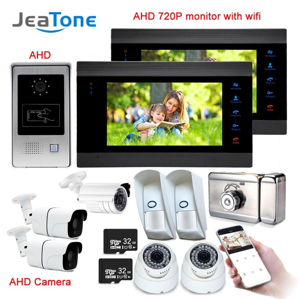 7 Inch WiFi Smart IP Video Door Phone Intercom System with Electric lock &1x1200TVL Wired Doorbell Camera Support Remote unlock