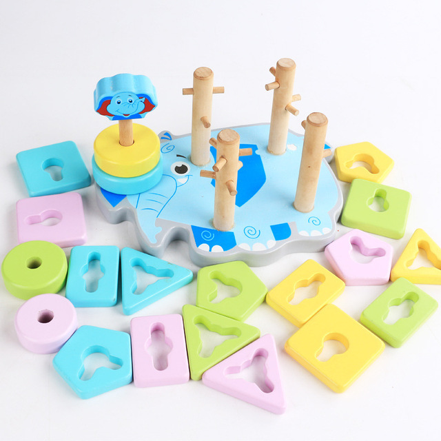 Wooden Five-column Wisdom Set Baby Educational Learning Toy Multi-functional Elephant Shape Building Blocks Toys for Children