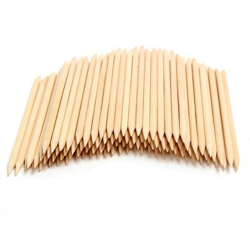 100pcs Wood Sticks, Wood Nail Art, Double Sided Wood, Orange Nail Art Cuticle Stick for Pusher Remover Manicure Pedicure, 4.3