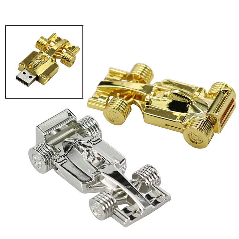 New Metal Mini <font><b>F1</b></font> Racing Car Usb Flash Drive Silver Formula Car Pen Drive Memory Stick 4GB 8GB 16GB Car Key Flash Memory Stick image