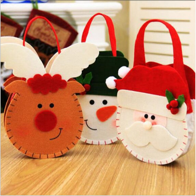 Cute Santa Claus Snowman Candy Gift Bags Cookie Packaging Bags Party Handbag Merry Christmas Storage Package Drawstring Bags