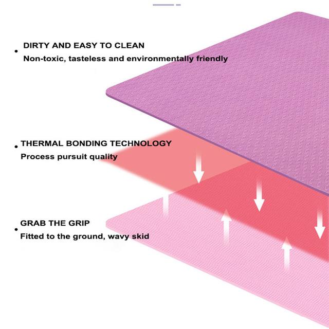 TPE Yoga Mat With Position Line Fitness Gymnastics Mats Double Layer Non-slip Beginner Sport Carpet Pads Women 6mm Mats Yoga