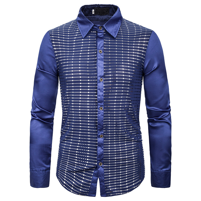 HIRIGIN New Men's Slim Fit Casual Shirt Long Sleeve Dress Shirts Plaid Cotton Shirt Tops Man Turn-down Collar Tuxedo Shirts