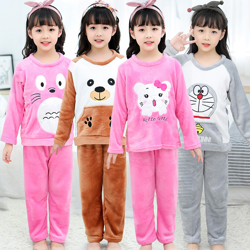 Детские фланелевые пижамы; зимние рождественские пижамы для детей; плотные теплые милые пижамы с длинными рукавами; комплект одежды для сна для девочек и мальчиков; Повседневный домашний костюм