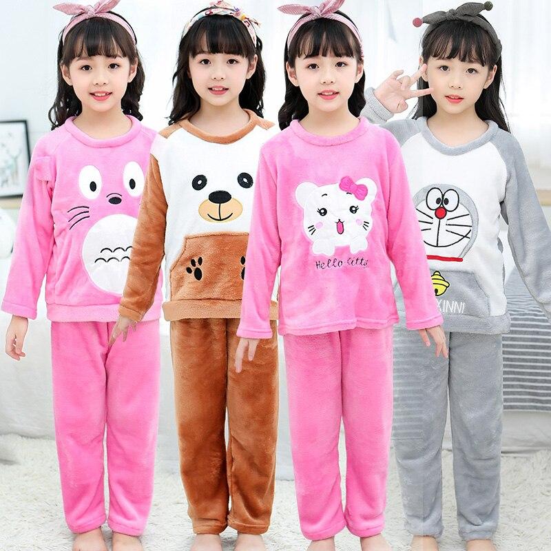 Kids Flannel Pajamas Winter Christmas Pyjamas For Children Thick Warm Long Sleeve Cute Sleepwear Set Girls Boys Casual Home Suit
