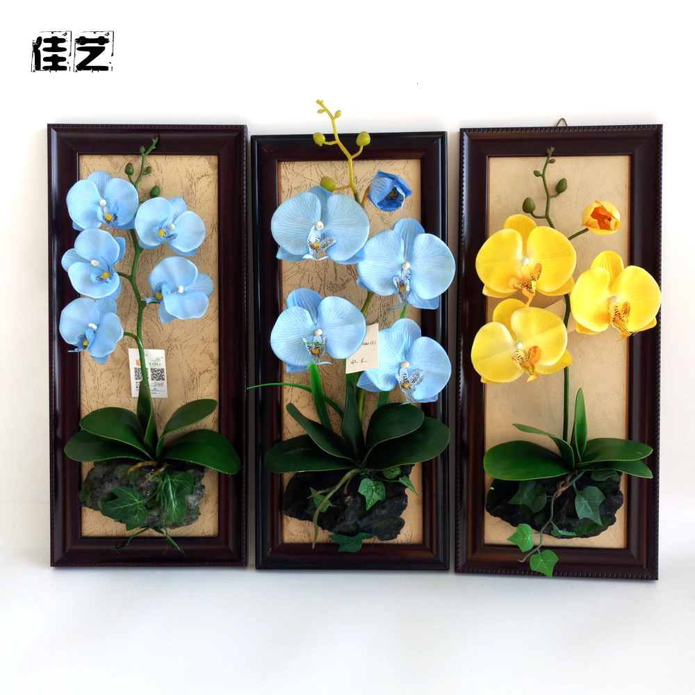 Eternal Life Butterfly Orchid Wall Frame Flower Decoration Home Imitation Flowers Wall Decorations Background Artificial Flower