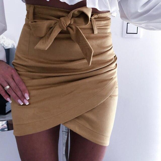 2019 Autumn Fashion Womens Mini Skirts Sexy Bandage Clubwear High Waist Pencil Bodycon Cross Skirt White Pink Khaki S-XL 1