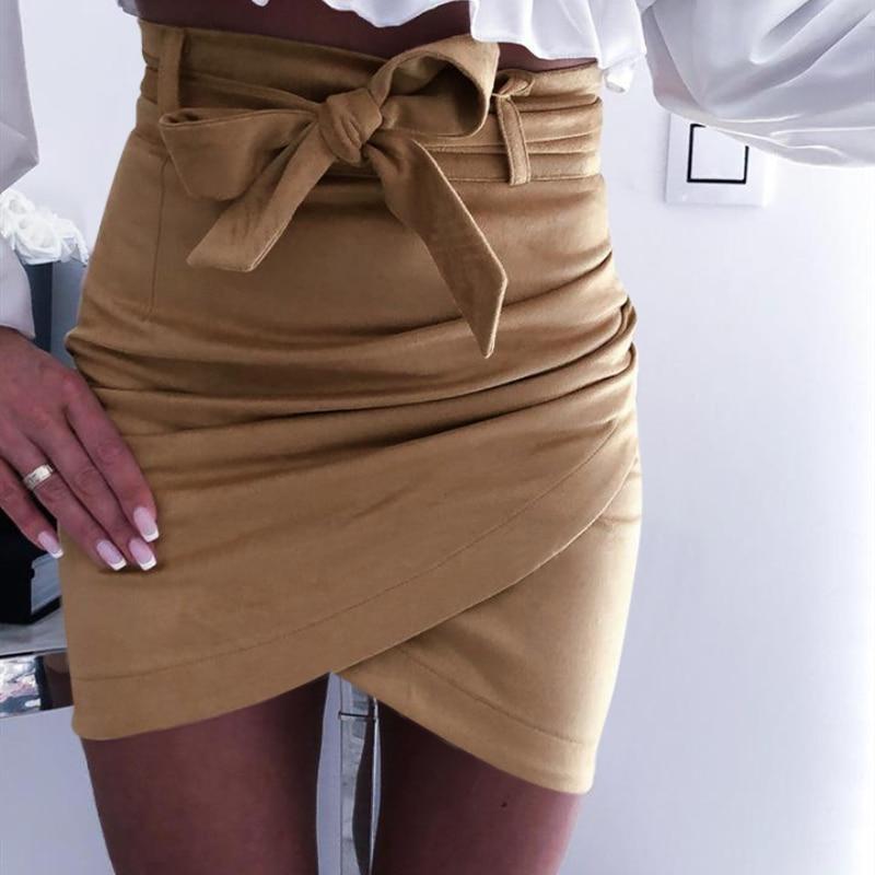 2019 Autumn Fashion Womens Mini Skirts Sexy Bandage Clubwear High Waist Pencil Bodycon Cross Skirt White Pink Khaki S-XL