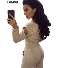TAOVK Stylish Soft knit set warm womens knittwear open shoulder sleeves sweater loose pant suit 2 piece outfits for women 2019