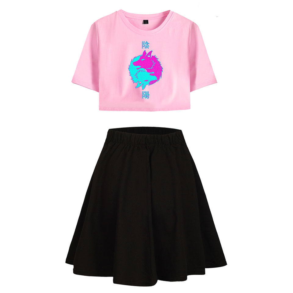 Vaporwave Print T-shirt Sets Girls Dew Navel Tshirt Short Skirt Suit Summer Women Tshirt Pleated Skirts Sets Sweet Fashion Skirt