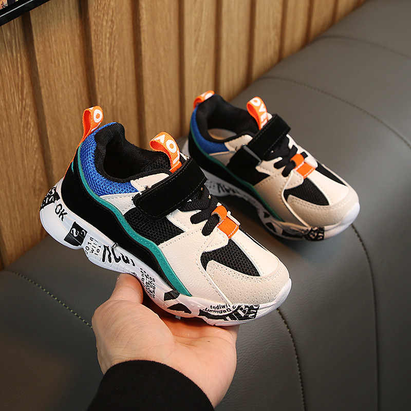 2019 Winter Kids Sports Shoes Children Casual Boys Patchwork Running Sneakers Fashion Autumn Graffiti Girls Student Boots