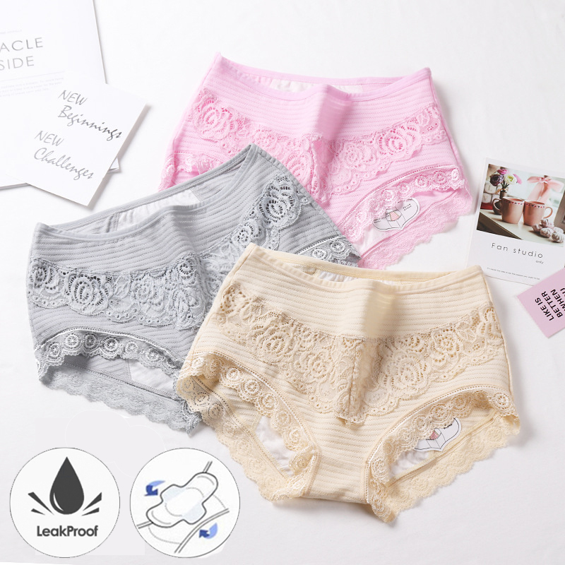 Sexy Lace Menstrual Panties Breathable Cotton Physiological Period Leak Proof Underwear Women Plus Size Period Panties 5XL
