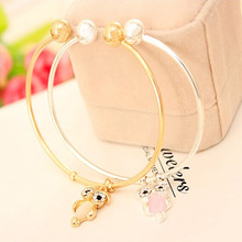 Fashion Lovely Owl Pendant Women Metal Bracelets Open Bangle Crystal Ethno Decorations Silver Gold Plate
