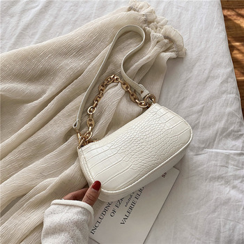 Fashion Crocodile Pattern Baguette bags MINI PU Leather Shoulder Bags For Women 2020 Chain Design Luxury Hand Bag Female Travel - Beige