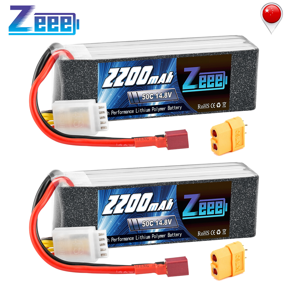 2units Zeee 4S RC LiPo <font><b>Battery</b></font> <font><b>14.8V</b></font> <font><b>2200mAh</b></font> 50C with Deans Plug XT60 Connector For RC Car Helicopter Drone Boat Airpplane image