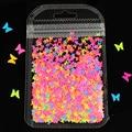 1 сумка флуоресцентный бабочка Форма нейл-арта блестящие хлопья 3D Красочные Блестки для ногтей Маникюр украшения для ногтей