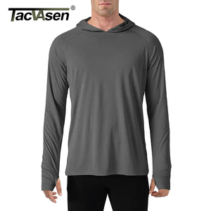 Image 2 - TACVASEN Sun Protection T Shirts Men Long Sleeve Casual UV Proof Hooded T Shirts Breathable Lightweight Performance Hike tshirts