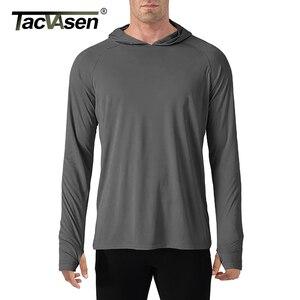 Image 2 - TACVASEN t shirt con protezione solare uomo manica lunga Casual t shirt con cappuccio a prova di UV magliette traspiranti per escursioni leggere