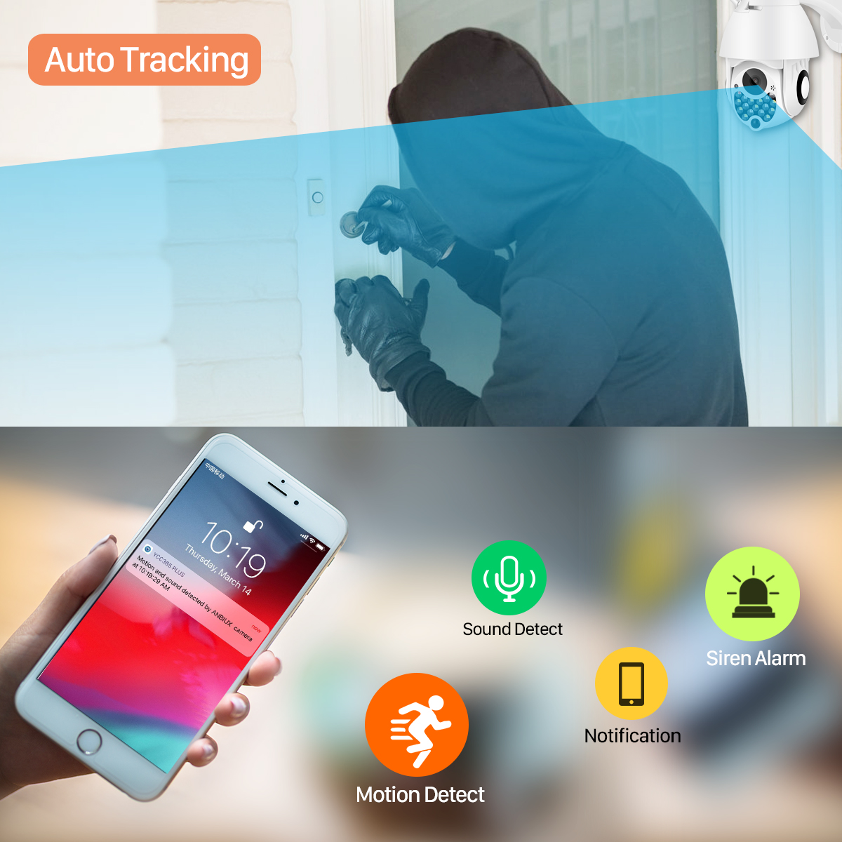 Ha5ee3f08e1794e9999adbd22724fa2aa1 1080P Outdoor Wifi PTZ Camera with Siren Light Auto Tracking Cloud Home Security IP Camera 2MP 4X Digital Zoom Speed Dome Camera