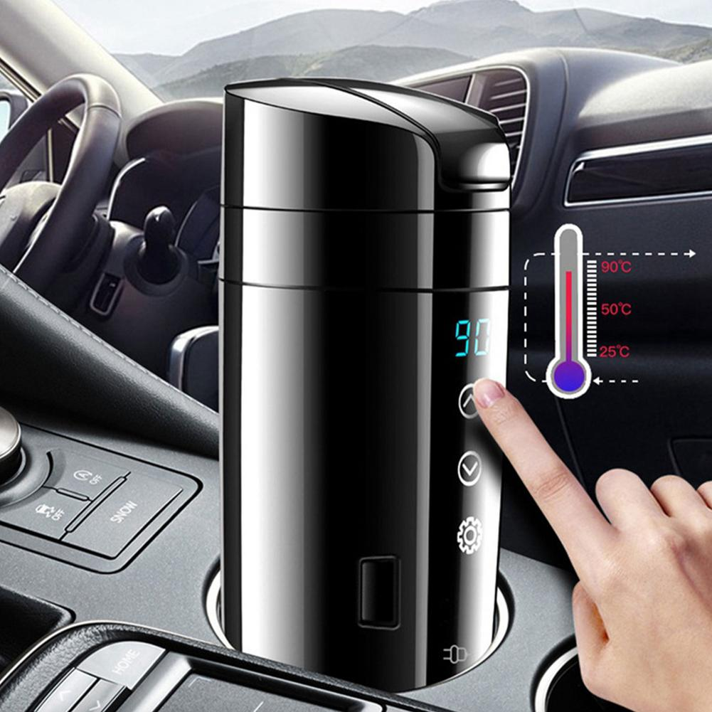 12V 24V 70W Real-time Temperature Vehicle Heating Cup Waterproof Stainless Steel Car Kettle Water Heater Car Mug Travel Kettle