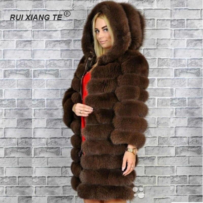 Abrigo de piel de zorro Real para mujer abrigo de piel de zorro natural con capucha manga larga abrigo de piel de invierno