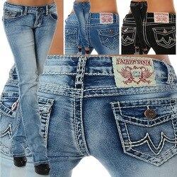 Mulheres high street Denim Lápis Calças da Senhora Calças Skinny bordado Fino Sexy cintura Baixa cintura Elástica Mulheres clothi