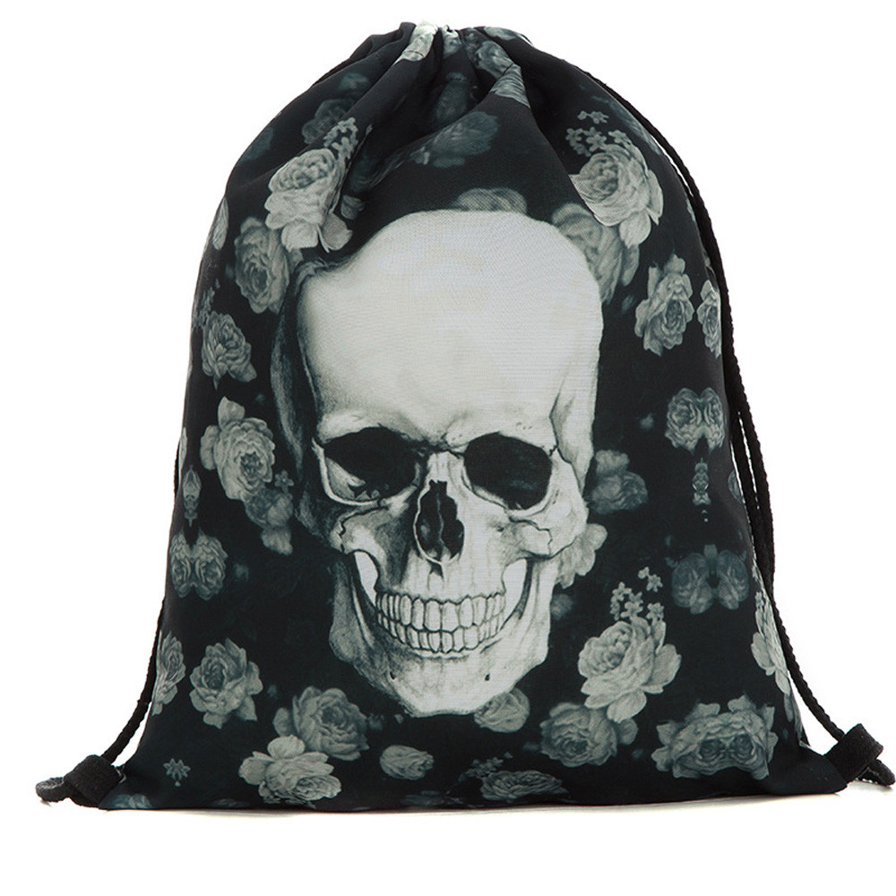 Halloween Party Drawstring Bag Unisex Men Women Casual Candy Bag Gift 3D Skulll Printed Drawstring Backpack Mochila Saco