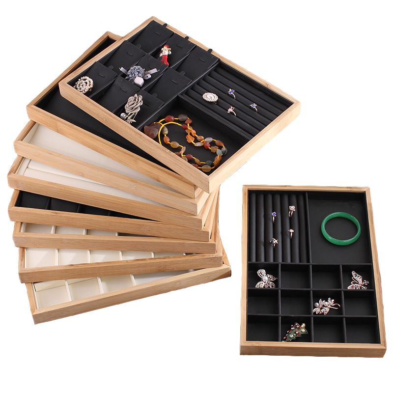 PU Leather Bamboo Jewelry Display Tray Necklace Bracelet Bangle Rings Earrings Display Jewelry Organizer Holder Showcase
