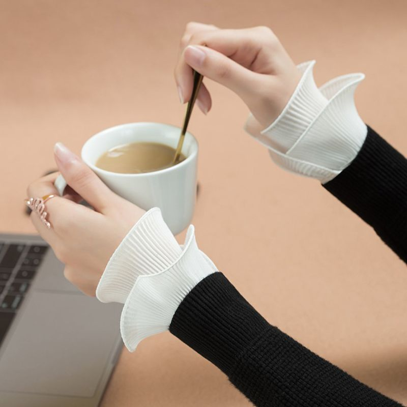 Detachable Shirt Pleated Flare Sleeve False Cuffs Solid Color Pleated Layered Wristband Decorative Women Clothing Accessory LX9E