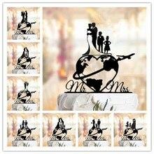 Семейный стиль, свадебный торт, Топпер, Карта мира, торт, Топпер, самолет, торт, Топпер, карта, силуэт, акрил