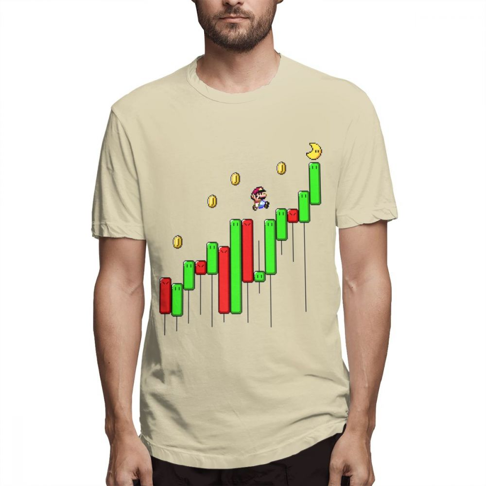 Men Tees Funny Super Mario Forex Stock Market Currency Trader Investment T Shirt Summer Man Cotton Day Trade Share Stock T-shirt image