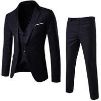 3 предмета, мужской костюм с блейзером + жилет + брюки, офисные деловые блейзеры, костюмы, комплекты, приталенное платье, Рождественский костю...
