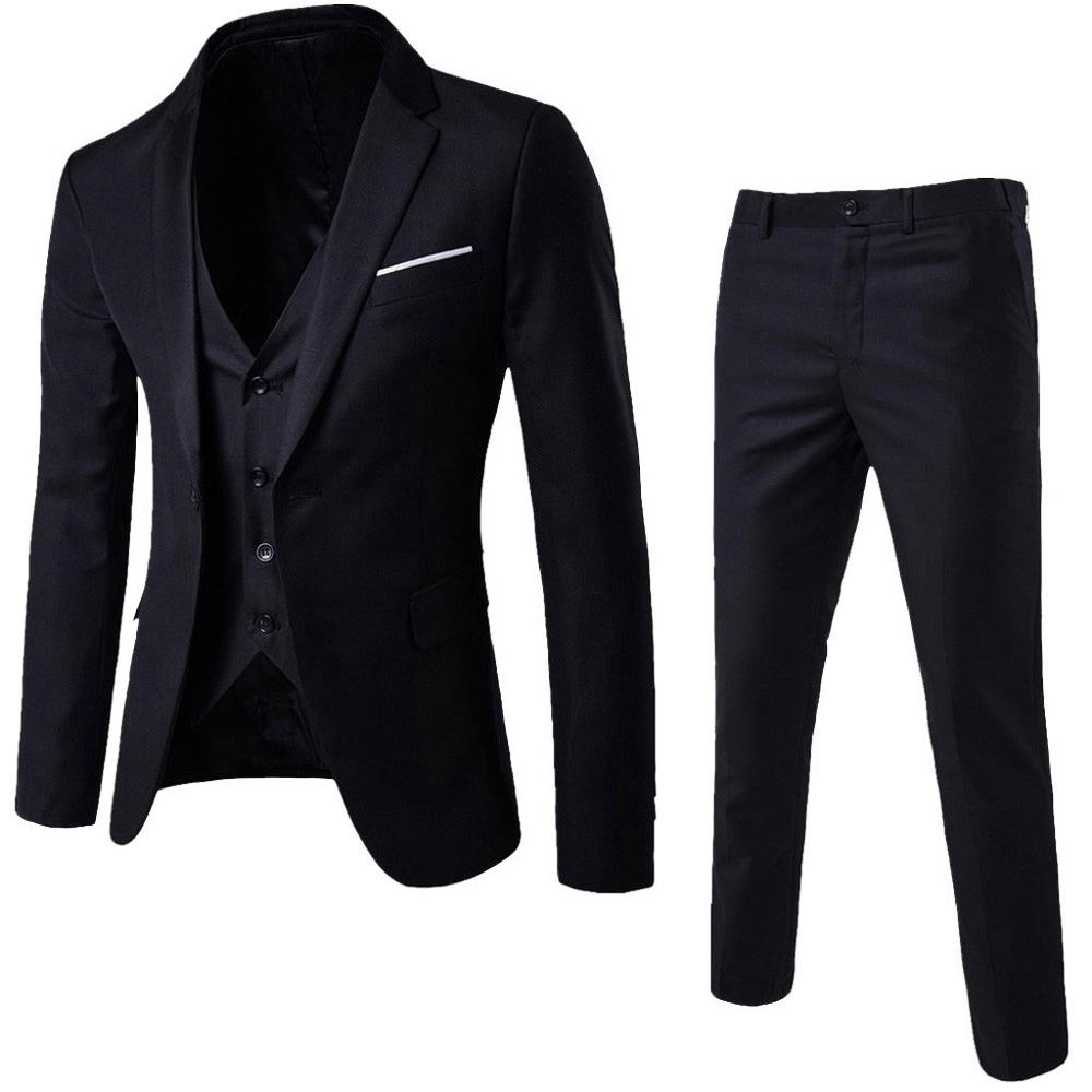 3Pcs Men Blazer Suit +Vest +Pants Office Business Blazers Suits Sets Slim Fit Dress Christmas Party Wedding Suit For Man Autumn