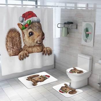 Cubierta para asiento de Inodoro alfombra de baño navideña alfombrilla antideslizante Tapa Wc Inodoro Copri agua Navidad accesorios de baño