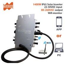 Сертификация CE, приложение и монитор ПК IP65 1400W MPPT сетка галстук микро солнечный инвертор, 22-50VDC до 80-280VAC, для 4x400W панелей макс