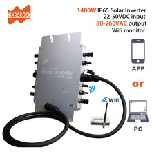 APP and PC communication IP65 1400W MPPT Grid Tie Micro Solar Inverter, 22-50VDC to 80-280VAC, 45Hz ~ 64Hz for 4x400W Panels Max
