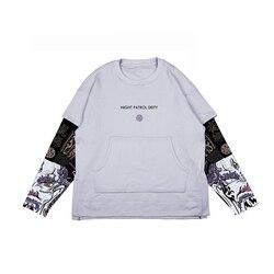 Casual Jacket Male Coats Zipper Tracksuit Streetwear XL 2019 Hip Hop Jackets Men Windbreaker men's fake two pieces Loose