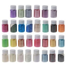 30 Colors Mica Pearl Powder Cosmetic Grade Resin Powdered Pigment Hand Soap Making Slime Resin Dye Candle Making 0.35oz