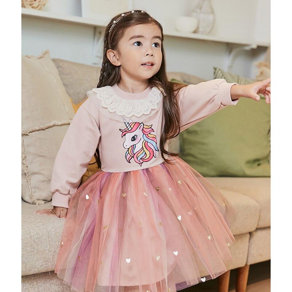 Единорогом для девочек; Платье принцессы с юбкой-пачкой; Платье для девочек; Сезон осень детская зимняя повседневная одежда с длинными рука...