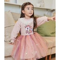 Meninas unicorn vestido de princesa tutu vestido para meninas outono inverno crianças casual manga longa vestido crianças roupas 2-7 anos