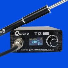 T12 952 oled 디지털 납땜 역 납땜 인두 끝을 가진 고품질 T12 M8 알루미늄 합금 손잡이 전자 땜납