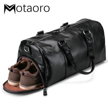 Men's Black Handbag Men Travel Duffle Bag Waterproof Sports Carrying Case Leather Large Capacity Casual Bags Luggage Organizer