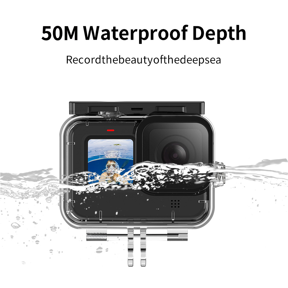 TELESIN 50M Waterproof Case Underwater Tempered Glass Diving Housing Cover Lens Filter for GoPro Hero 9 Black Camera Accessories 3