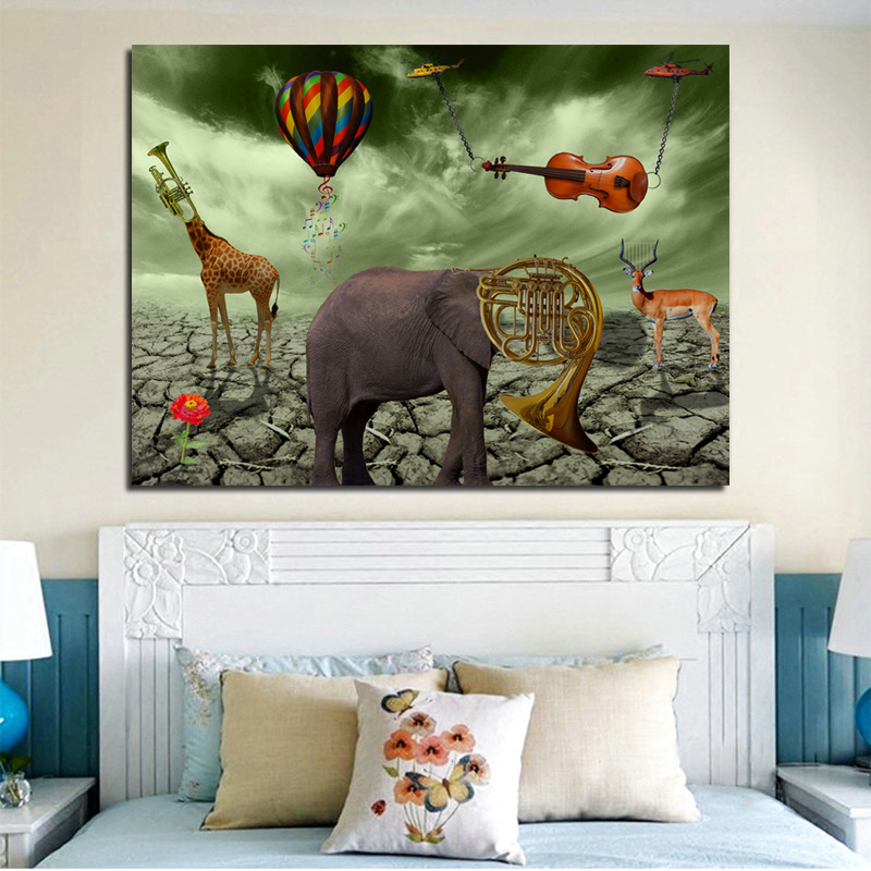 Salvador Dali Elephant Deer Trumpet Paintings Canvas Printed Wall Art Prints Poster For Living Room Animal Cuadros Home Decor in Painting Calligraphy from Home Garden