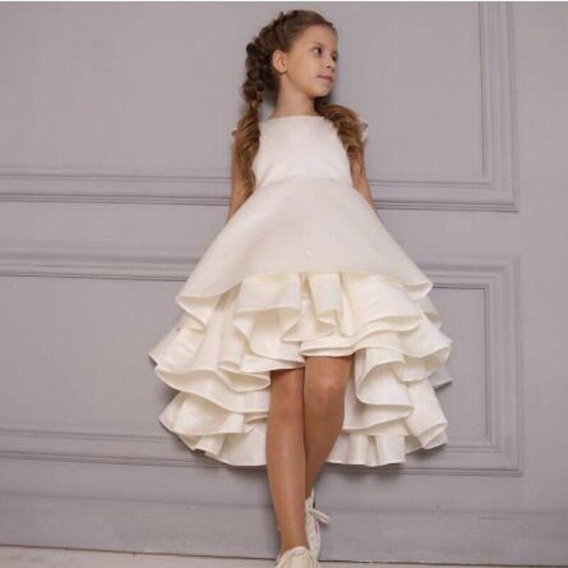 Cap Sleeve Tiered Ruffles A-line   Flower     Girl     Dresses   Cute Sleeveless O-neck Knee-Length Communion Gown sukienki