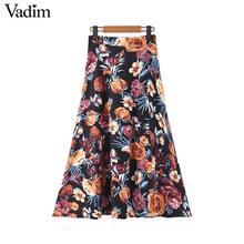 Vadim Женская мода цветочный узор миди юбка неправильный дизайн эластичная талия спереди сплит женские повседневные асимметричные юбки BA802